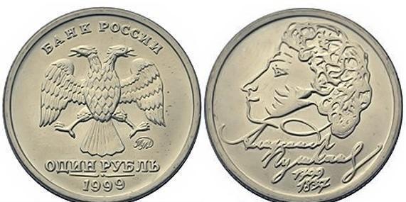 1 рубль пушкин цена цена стоимость Монеты